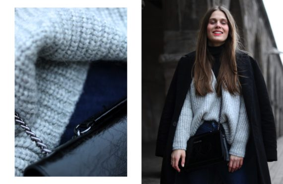 OUTFIT | CHUNKY KNIT & STUDDED LOAFERS